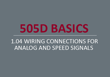 Wiring Connections for Analog and Speed Signals