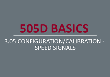 Configuration/Calibration - Speed Signals