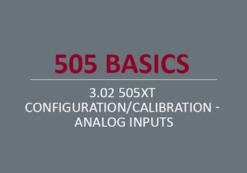 505XT Configuration/Calibration - Analog Inputs